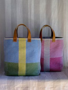 Patchwork solid bags with leather handles. Handmade tote bag.