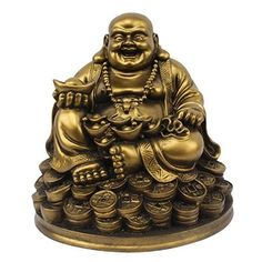 BuyRudraksha Fengshui Laughing Buddha Sitting on Lucky Money Coins carrying Golden Ingot for Good luck  Happiness ** Visit the image link more details.