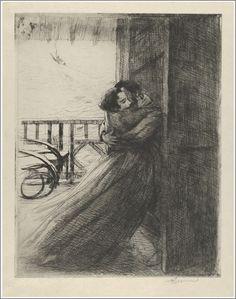"""Paul-Albert Besnard (1849-1934), L'Amour (extrait d'une Série de douze gravures intitulée """"La Femme"""")"""