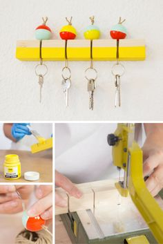 Cómo hacer un cuelga llaves de madera ➜ deja de perder las llaves por casa y… Pallet Crafts, Wood Crafts, Diy And Crafts, Small Wood Projects, Diy House Projects, Wooden Key Holder, Diy Rangement, Diy Y Manualidades, Diy Home Accessories