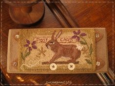 Post Card Bunny Pull Toy- Original Primitive Punch Needle Board Folk Art OOAK #NaivePrimitive