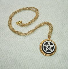 Large Cameo Pentagram Charm Necklace - Handmade Wiccan Jewelry