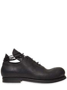 GÖRAN HORAL - WAXED LEATHER OXFORD LACE-UP SHOES - LUISAVIAROMA - LUXURY SHOPPING WORLDWIDE SHIPPING - FLORENCE