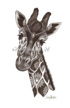 Bohemian Style Giraffe Illustration by Kristy Mudares using a fineliner pen on to A2 size paper. It took around 10 Hours to complete! For progress shots of my work check out my instagram @kristymudares_artPrints are on good quality paper and individually signed by myself.
