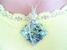 Abalone Shell Necklace Silver Plated Wire Wrapped Beaded Shell Pendant Unique Handmade Star Shell Pendant Necklace  #596 by AlsJewelryDesigns on Etsy