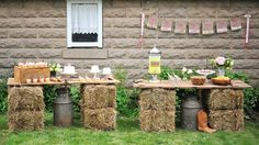 fiesta country vintage -presentación  mesas de fardo de heno