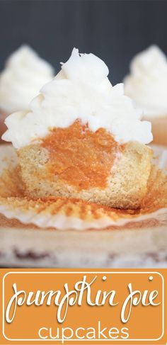 The perfect marriage of pumpkin pie and cupcakes in one! Moist vanilla cake…