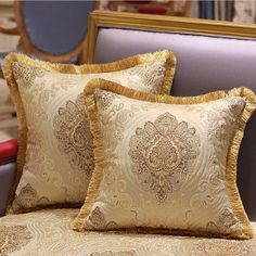 "Luxury Verona Pillow Embellished With Trim 20""X20"""