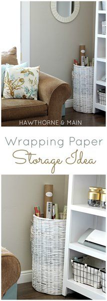 I am in love with this easy wrapping paper storage idea! How did I not think of this before? Plus, love how she painted the cheap basket!