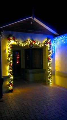 Garland with led lights on outside the Portico. Garland, Christmas Tree, Led, Lights, Holiday Decor, House, Inspiration, Home Decor, Style