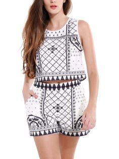 Walkingon #Womens Sleeveless Crop Tops Summer Printing Casual #Pants #Sets