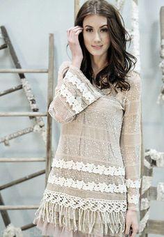 ModCloth A'REVE by Ryu Boho Chic Tunic Dress Lace w/Fringe Bottom Mesh BEIGE #Areve #Dress #Casual