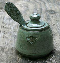 Emerald Green Honey Pot, Mark Strayer, North Star Pottery