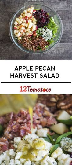 Apple Pecan Harvest Salad - This is a salad to look forward to the perfect combination of salty and sweet with a whole lot of crunch and a maple-dijon dressing thats not to be missed. Its just the thing to shake up your salad routine. Easy Salad Recipes, Easy Salads, Healthy Salads, Easy Meals, Healthy Eating, Healthy Recipes, Winter Salad Recipes, Pecan Recipes, Cooking Recipes