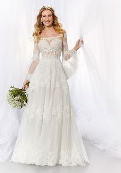 Voyagé Collection A-Line Wedding Dress with Long Sleeves. Morilee by Madeline Gardner. Wedding Dress Pictures, Wedding Dress Styles, Designer Wedding Dresses, Beach Bridal Dresses, Bridal Gowns, Gown Wedding, Perfect Wedding Dress, Elegant Wedding, Dress Couture