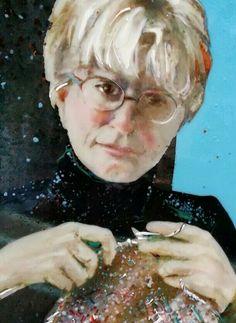 Sister Knitting. Fused glass drawing. Linda Humphrey/kilnforms.