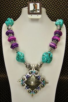 Turquoise / Purple Chunky Western Cowgirl by CayaCowgirlCreations, $48.50