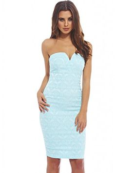 Look at this AX Paris Aqua Brocade Notch Strapless Dress on today! Dress Outfits, Cute Outfits, Fashion Outfits, Women's Fashion, Cute Dresses, Girls Dresses, Summer Dresses, Strapless Midi Dress, Bodycon Dress