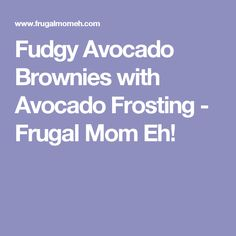 Fudgy Avocado Brownies with Avocado Frosting - Frugal Mom Eh!