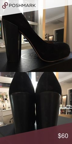 Acne Vega Suede platform pumps Block heel worn so some scuffs but still really cute. Can be dressed up or worn with skinny jeans Acne Shoes Heels