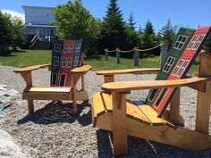 These are a couple of chairs made by a local guy in Newfoundland. I painted them in the St. John's row house colors (Jelly Bean Row). #JellyBeanRow #LawnChairs #AdirondackChairs