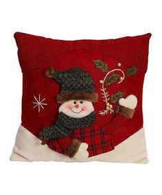 Love this Red & Green Snowman Throw Pillow by GCA International on Christmas Applique, Christmas Sewing, Christmas Cushions, Christmas Pillow, Cool Christmas Trees, Christmas Love, Wool Applique Quilts, Fall Sewing, Felt Pillow