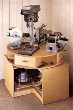 Awesome way to mount tools that take up bench space.