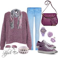 """""""Purple Free Casual"""" by stylisheve on Polyvore but w dark jeans"""