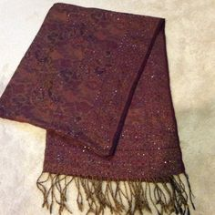 Handmade Indian beaded shawl Used a handful of times, in excellent condition. Color is burgundy, dark red. Accessories Scarves & Wraps