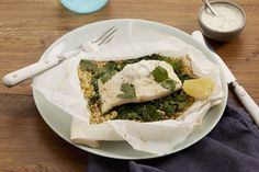 Cod en Papillote with Freekeh & Spinach - Fish For Healthy Life Seafood Dinner, Fish And Seafood, Fish Recipes, Seafood Recipes, Cod Fish, Vegetarian Cooking, Us Foods, Healthy Life, Spinach