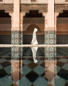 Photograph by Takashi Nakagawa at the Ben Youssef madrassa in Marrakech, Morocco.