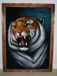 Vintage Mexican velvet painting of tiger: Velvet painting = the ultimate kitsch.
