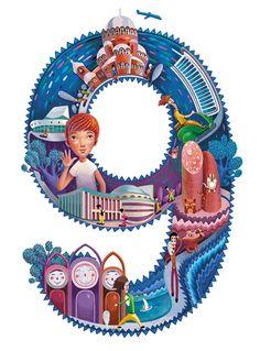 Work by Andrew Lebedinsky, via Behance Banner Design Inspiration, Typography Inspiration, Types Of Lettering, Lettering Design, Character Illustration, Illustration Art, Indonesian Art, Go Fly A Kite, Typography Art