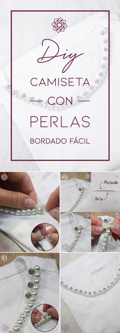 DIY: Camiseta con perlas | Bordado fácil – Nocturno Design Blog Design Blog, Dog Tags, Dog Tag Necklace, Korean, Jewelry, Fashion, Pearl Embroidery, Hand Embroidery Designs, Necklaces