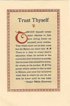 Essay self reliance by ralph waldo emerson Self Reliance Quotes, Emerson Quotes, Ralph Waldo Emerson, Magic Words, Self Development, Trust Yourself, Cool Words, Twitter, Quotes To Live By