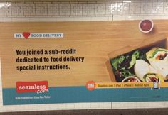 Subway advertising campaign from Seamless.com - I'm wondering why they've chosen to portray their customers as trolls?    http://jfwhite.org/seamless-for-recluses/