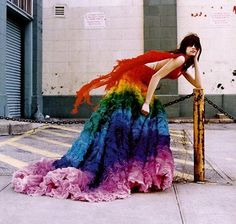Rainbow dress, I love the flowy things coming off the back of the straps!