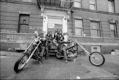 Members of the Chingalings Motorcycle Club on their bikes outside their rent-free city-owned clubhouse in the South Bronx © Allan Tannenbaum