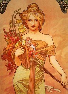 Tableau - Reproduction d'Alphonse Mucha – Bouquet