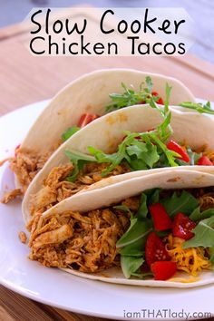 Looking for something easy and healthy for dinner? The slow cooker chicken tacos are ridiculously EASY and DELICIOUS!