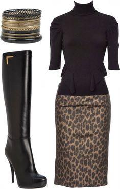 Fashionista Trends: Classic Outfits - Karen Millen Zip Corset Roll Neck, Leopard Pencil Skirt, Fendi Platform Knee Boots, Set Of Fifteen Bangles. Classic Outfits, Chic Outfits, Fall Outfits, Fashion Outfits, Womens Fashion, Fashion Trends, Fashionista Trends, Skirt Fashion, Fashion Tips