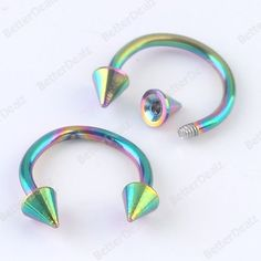 10pcs 18G Colorful Stainless Steel Spike Horseshoes Nose Ring Barbell Stud Hoop Septum Piercing Rings, Cool Piercings, Septum Jewelry, Body Jewelry, Lip Rings, Nose Rings, Ear Gauges, Horseshoes, Peircings