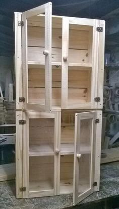 Wooden Pallets Various Kind Of Furnish Your Homes - Palletideas. Pallet Kitchen Cabinets, Diy Cabinets, Diy Pallet Furniture, Handmade Furniture, Wooden Decor, Wooden Diy, Wooden Pallets, Woodworking Plans, Woodworking Projects