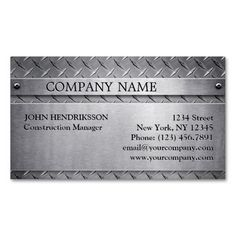 Brushed Aluminum Diamond Plate Business Card. Make your own business card with this great design. All you need is to add your info to this template. Click the image to try it out!