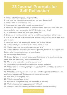 23 Insightful Journal Prompts Perfect for Self-Reflection - With a FREE Printable! 23 Insightful Journal Prompts Perfect for Self-Reflection Journal Topics, Journal Writing Prompts, Journal Prompts For Adults, Bullet Journal Prompts, Gratitude Journal Prompts, Journal Entries, Writing Challenge, Writing Tips, Journal Challenge