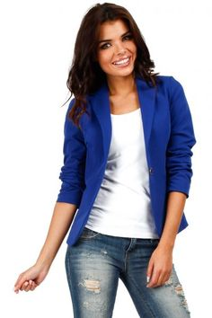 Cornflower blue blazer women fastened with a button Professional Look, Jackett, Blazer Buttons, Blazers For Women, Slim, My Style, Casual, Sweaters, Outfits