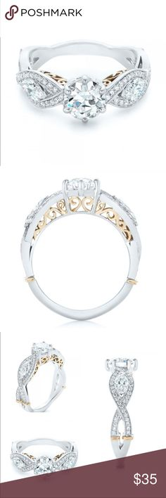 OH MY!! THE JOYAU!! NEW AND BRILLIANT JOYAU!! 2 TONE PLATINUM PLATED OVER BRASS! AAAA 1 CARAT ROUND CENTER WITH MARQUISE AND ROUND SHAPE ELEMENTS ON THE SIDES!!! THE TWISTS AND WRAPS ON THIS IS JUST WOW! THE GOLD DETAIL IS STUNNING! SIZE 6 includes black velvet box Jewelry Rings