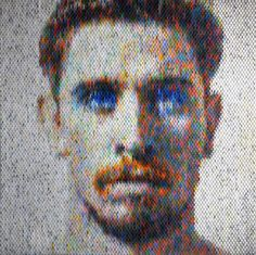 peter combe creates complex optical illusions with layered paint chip portraits 3d Portrait, Portraits, Out Of Focus, Paint Swatches, Paint Chips, Art Fair, Optical Illusions, Love Art, Creative Art