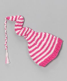 Take a look at this Hot & Light Pink Stripe Beanie by AdoraBelle Pettiskirts on #zulily today!