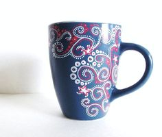 Happy Fourth Hand Painted Mug -Single Medium Personalized Coffee Cup - Pottery Painting, Ceramic Painting, Diy Painting, Painted Coffee Mugs, Hand Painted Mugs, Sharpie Crafts, Sharpie Art, Watercolor Artist, Ceramic Cafe